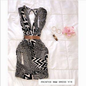Printed Black & White Dress